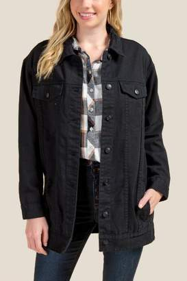 francesca's Elliot Long Destructed Denim Jacket - Black
