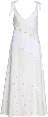 Solid & Striped Floral-Appliqued Cotton-Poplin Midi Dress