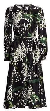 Oscar de la Renta Floral Long-Sleeve Side Button Silk A-Line Dress