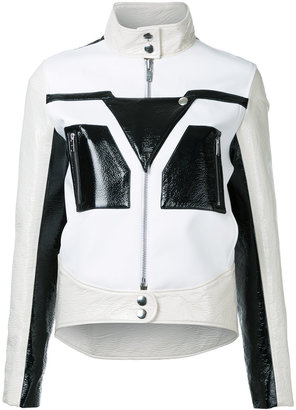 graphic contrast faux leather jacket