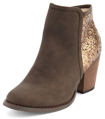 Charlotte Russe Glitter Back Ankle Bootie