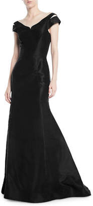Zac Posen Off-the-Shoulder Trumpet Evening Gown w/ Shoulder Slit