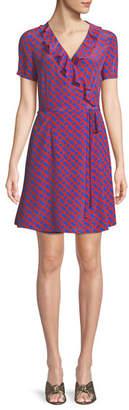 Diane von Furstenberg Savilla Printed Ruffle Wrap Dress