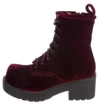 Jeffrey Campbell Velvet Platform Ankle Boots