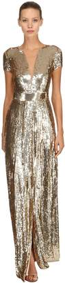 Temperley London Back Cutout Sequined Long Dress
