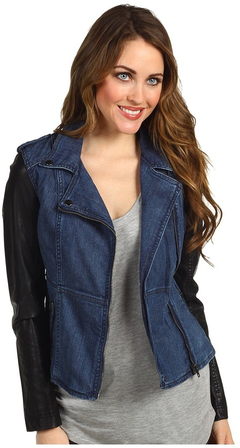 Blank NYC Denim and Vegan Leather Fitted Jacket (Denim/Black) - Apparel