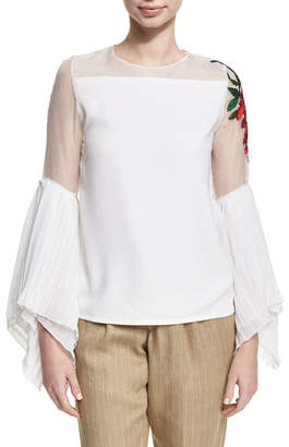 Chufy Embroidered Sheer Chiffon Top, White