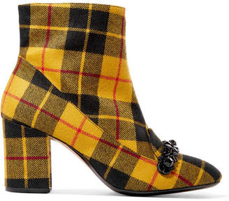 No. 21 - Embellished Plaid Canvas Ankle Boots - Yellow