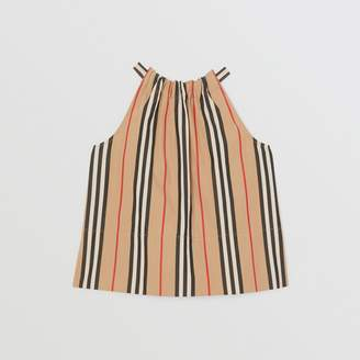 Burberry Childrens Icon Stripe Cotton Halterneck Top