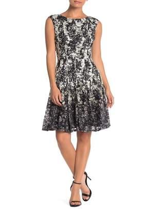 Gabby Skye Scroll Print Lace Fit & Flare Dress