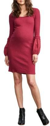 Maternal America Poet Sleeve Ribbed Maternity Dress