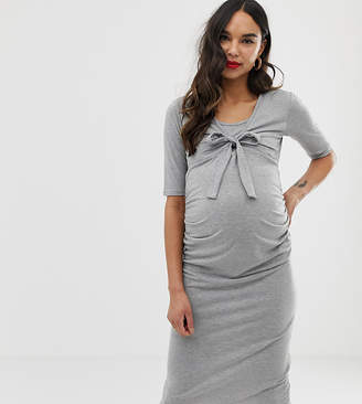 Bluebelle Maternity bodycon tie front dress with 3/4 sleeve in grey