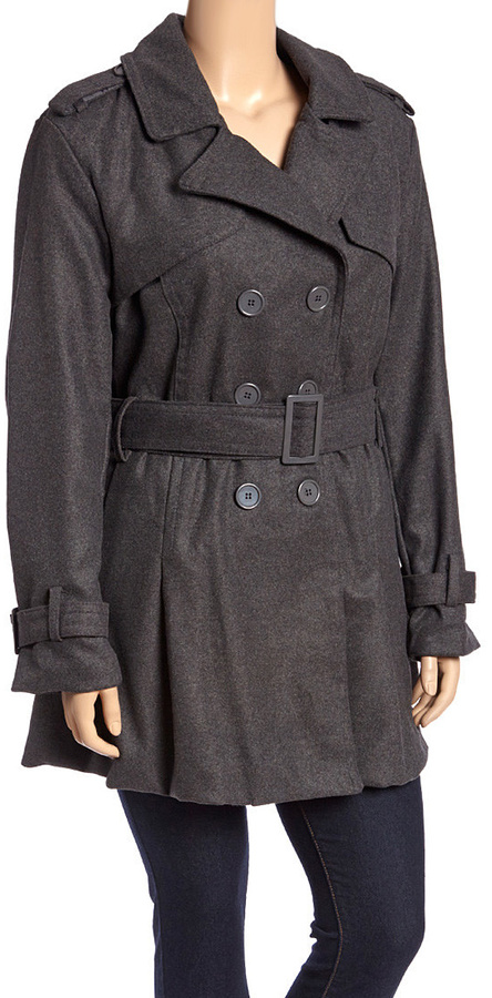 Charcoal Pleated Trench Coat