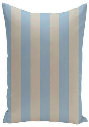 E By Design 16 Inch Light Blue and Taupe Decorative Striped Throw Pillow