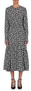 Women's Daisy-Print Silk Maxi Dress - Blk, Wht/Ylw Size 40 It