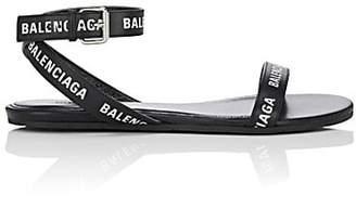 Balenciaga Women's Logo Leather Ankle-Wrap Sandals - Black