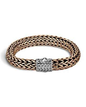 John Hardy Men's Two-Tone Woven Chain Bracelet, Silver/Bronze $695 thestylecure.com