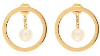 Chloé - Gold Tone Hoop And Pearlised Drop Earrings - Womens - Pearl