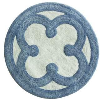 "Bacova Guild LTD Guild Blue Medallion Bath Rug, Yarn Dye cotton 26"" round plush"
