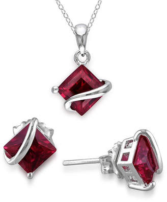 FINE JEWELRY Lab-Created Ruby Sterling Silver Earrings & Pendant Necklace 2-Piece Set