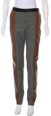 Celine Céline Leather-Accented Wool Pants Grey Céline Leather-Accented Wool Pants
