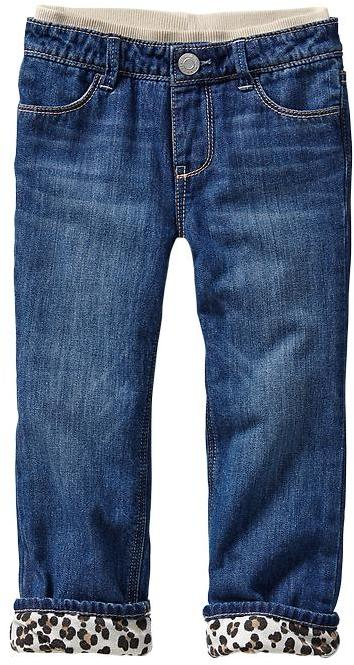 Gap Leopard-lined straight jeans