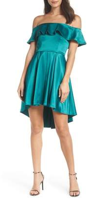 Sequin Hearts Off the Shoulder Satin High/Low Cocktail Dress
