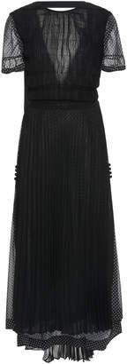 Loewe Polka-Dot Pleated Chiffon Midi Dress