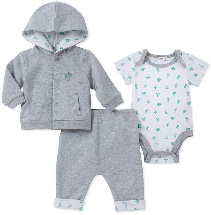 Gray & White Cactus Hoodie Set - Newborn & Infant