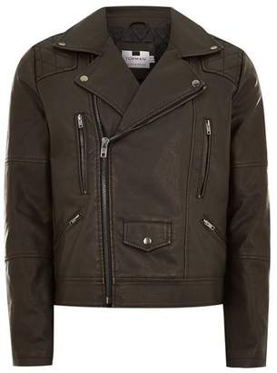 Topman Mens Black Faux Leather Biker Jacket