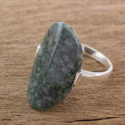 Maya Virtue in Dark Green Dark Green Jade and Silver Cocktail Ring from Guatemala