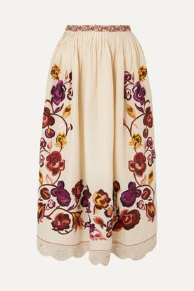 55a32d08b40 Ulla Johnson Yana Embroidered Linen And Cotton-blend Midi Skirt - Off-white