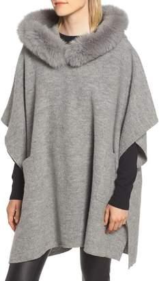 Fleurette Wool Poncho with Genuine Fox Fur Trimmed Hood