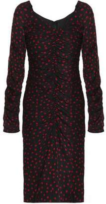 Dolce & Gabbana Ruched Polka-Dot Stretch-Silk Dress