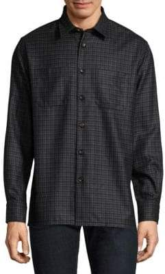 Luciano Barbera Stitch Silk & Wool Button-Down Shirt