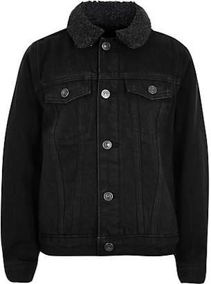 River Island Boys black wash fleece lined denim jacket