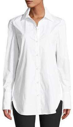 Theory Classic Button-Down Long-Sleeve Stretch-Cotton Tuxedo Shirt