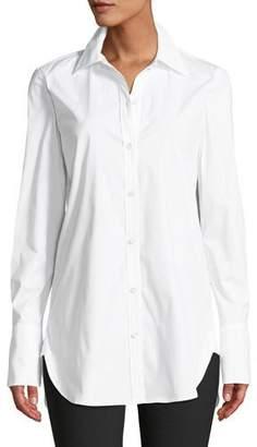 Theory Classic Button-Down Long-Sleeve Stretch-Cotton Tuxedo Shirt