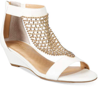 Thalia Sodi Tibby Mesh Embellished Wedge Sandals, Created for Macy's Women's Shoes