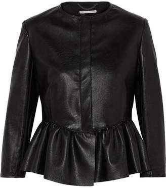 Stella McCartney - Cropped Faux Textured-leather Peplum Jacket - Black