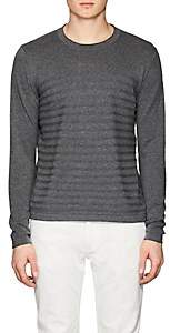 Piattelli MEN'S STRIPED COTTON SWEATER-CHARCOAL SIZE L