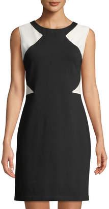 Neiman Marcus Colorblocked Stretch Sheath Dress
