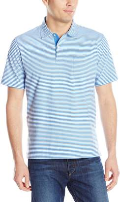Izod Men's Short Sleeve Chatham Clique Self Collar Stripe Polo Shirt