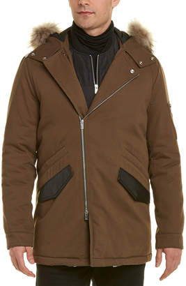 The Kooples Leather-Trim Coat