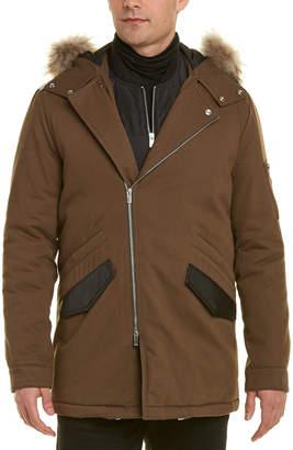 The Kooples Leather-Trim Coat
