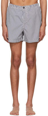 Stone Island Navy and White Stripe Swim Shorts