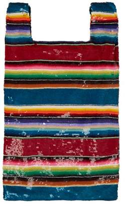Ashish Striped Sequined Bag - Womens - Multi