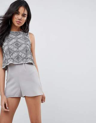 Asos Design Embellished Layer Playsuit