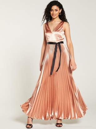 Very Satin Pleated Maxi Dress - Rose Gold