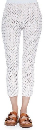 MICHAEL Michael Kors Michael Kors Samantha Cropped Eyelet Pants, Optic White